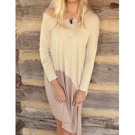 Leisure Long Sleeve Two Tone Day Dress with Round Neck