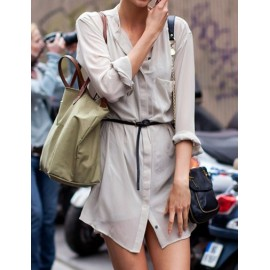 Street Patch Pocket Long Sleeve Shirt Dress in Beige