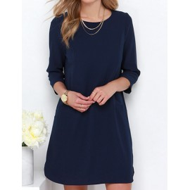 Elegant Long Sleeve Round Neck Chiffon Dress in Dark Blue