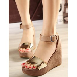 European Basic Ankle-Strap Polished Wedge Sandals in Pure Color Size:34-39