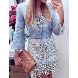 Ladylike Crocheted Lace Panel Denim Dress in Light Blue