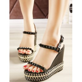 Street Sling Back Weave Wedge Sandals with Rivet Ornament Size:34-39