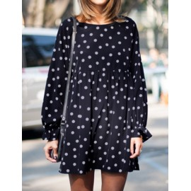 Babydoll Pleated Polka Dots Printed Chiffon Dress with Long Sleeve