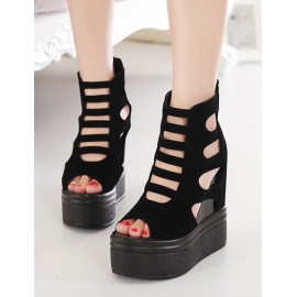 Sexy Cut-Out Wedge Heel Peep-Toe Sandals in Black Size:34-39