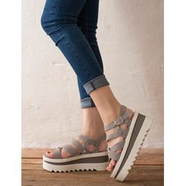 Leisure Two Tone Cross-Strap Wedge Sandals with Buckle Trim Size:34-39