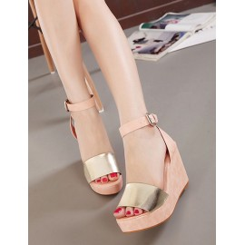 Summery Ankle-Strap Wedge Sandals in Color Block Size:34-39
