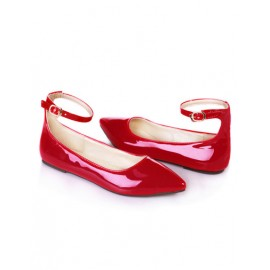 Sweet Point Toe Ankle Strap Flats in Pure Color Size:34-39