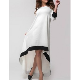 Charming High-Low Hemline Color Block Dress with 3/4 Sleeve