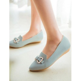 Sweet Pointed Toe Metal Bowknot Shoes in Flat Heel Size:34-39