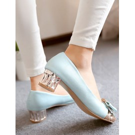 Romantic Round Toe Panel Trim Shoes in Chunky Heel Size:34-39
