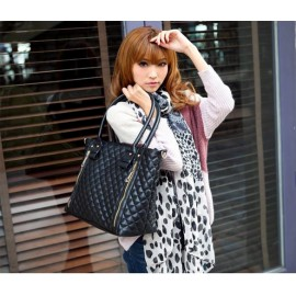 Black Retro Women Office Quilted Shoulder Tote Bag Handbag