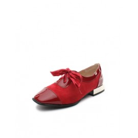 Self Identity Lacy Design Square Toe Low Heel Shoes Size:35-39