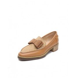 Voguish Square Toe Bowknot Embellished Low Heel Shoes Size:35-39