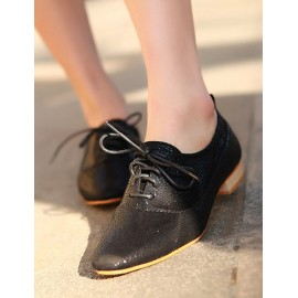 Stylish Square Toe Lacy Trim Embossing Shoes Size:35-39