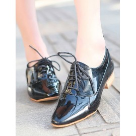 Casual Suqare Toe Lacy Trim Low Heel Shoes Size:35-39