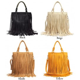 European Style New Lady Girl Women Synthetic Leather Tassel Bag Fashionable Shoulder Bag HandBag