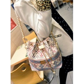 Drawstring Bag Shoulder Messenger Bag Women Handbag Chain Bag Diagonal Package Canvas Totes