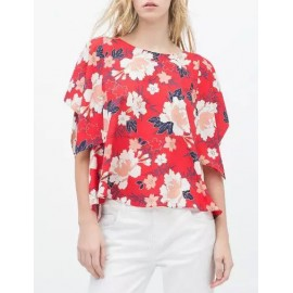 Unique Floral Printed Slanted Button Blouse with Asymmetric Sleeve Size:S-L
