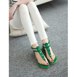 Stylish Double Ankle Buckle Sandals in Rivet Trim Size:34-39