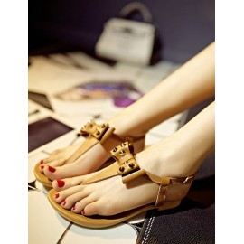 Sweet Bowknot Rivet Flat Heel Thong Sandals in Buckle Trim Size:34-39