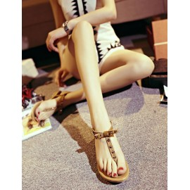 Simplicity Strap Rivet Thong Sandals in Flat Heel Size:34-39