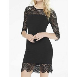 Elegant Elbow Sleeve Lace Panel Dress in Slim Fit