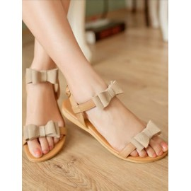 Sweet Bowknot Embellished Flat Heel Sandals in Buckle Trim Size:34-39