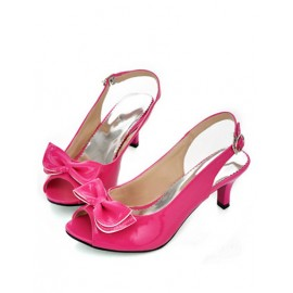 Gorgeous Peep Toe Buckle Bowknot Heel Sandals Size:34-39
