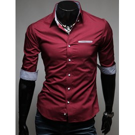 Stylish Contrast Color Turn-Up Cuff Half Sleeve Shirt
