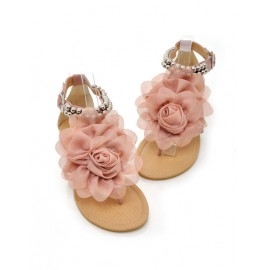 Lovely Flower Embellished Thong Sandals in Ball Detail Size:34-39