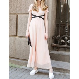 Celebrity Deep V Neck Color Block Chiffon Dress with Cuto-Out Shoulder