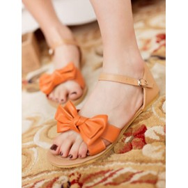 Lovely Color Block Design Bowknot Sandal in Flat Heel Size:34-39