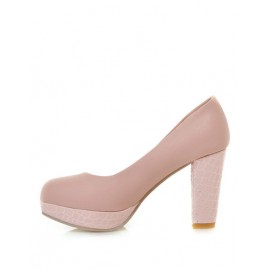 Vintage Round Toe Platform Shoes in Chunky Heel Size:34-39