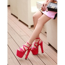 Fascinating Ankle Strap Platform Sandals in High Chunky Heel Size:34-39