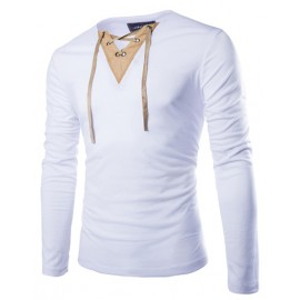 Pure Color Long Sleeve T-shirt with Sueded Lace Up V-Neck