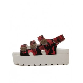 Fashion Camouflage Printed Platform Sandals with Mock-Strap Size:35-39