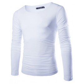 Basic Round Neckline Long Sleeve Tee in Solid Color