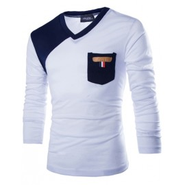 V-Neck Long Sleeve T-shirt in Color Block