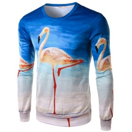 Trendy Crane Printed Long Sleeve Basic Tee with Crew Neck