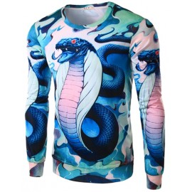 Vivid Snake Printed Color Panel Tee with Long Sleeve
