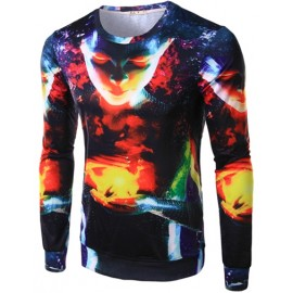 Abstract Galaxy Face Printed Basic Tee with Long Sleeve