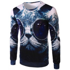 Fashionable Vivid Cat Printed Long Sleeve Tee with Crew Neck