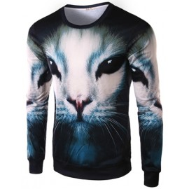 Vivid Animal Printed Crew Neck Tee with Long Sleeve