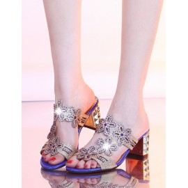 Seductive Hollow Floral Rhinestone Slipper in Chunky Heel Size:34-39