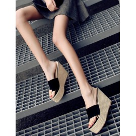 Bohemian Weave Wedge Heel Slippers with Flip-Flop Size:35-39