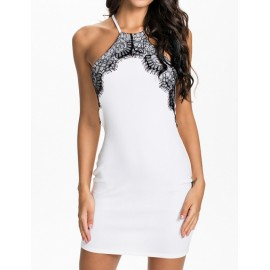 Sexy Sleeveless Bodycon Dress with Lace Trim