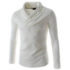 Basic Pure Color Wrap V-Neck Slim Fit T-Shirt