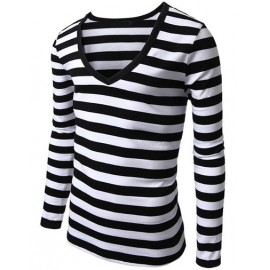 Classic Stripe Print Long Sleeve Slim Fit T-Shirt