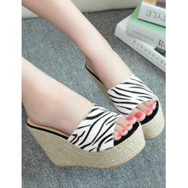Bohemian Weave Wedge Heel Slipper in Zebra Print Size:35-39