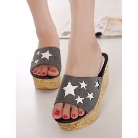 Modern Color Panel Wedge Heel Slippers with Star Design Size:35-39